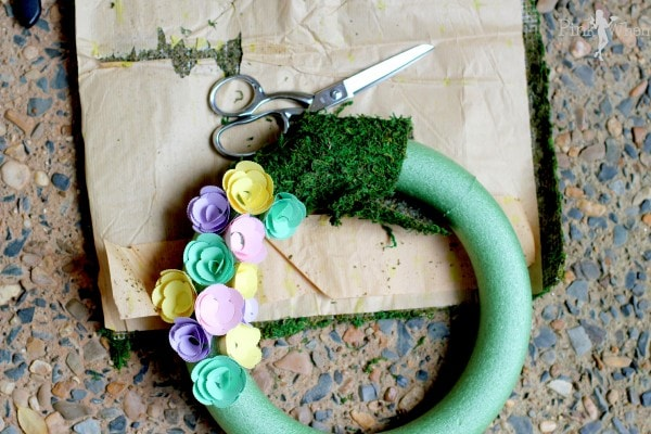 Spring Paper Flower Wreath Adding Moss