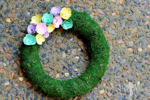 Spring Paper Flower Wreath with Moss