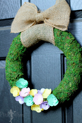 Spring Paper Flower Wreath with Moss and Burlap