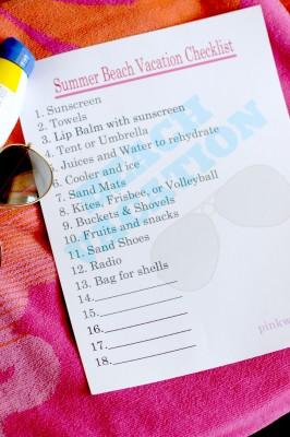Summer Beach Vacation Checklist Free Printable