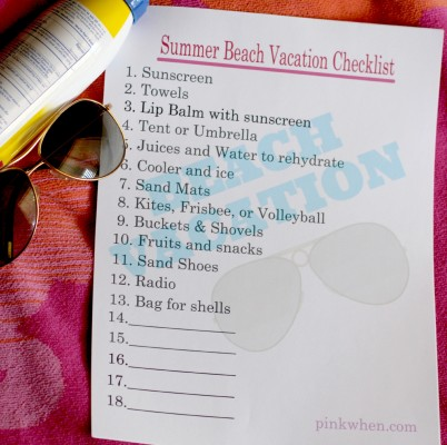Summer Beach Vacation Checklist Free Printable