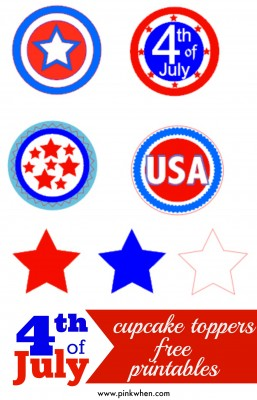 4th of July Cupcake Toppers Free Printables
