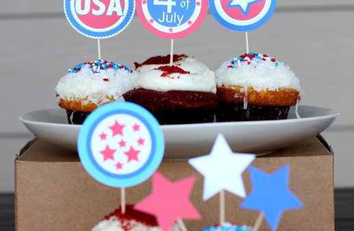 4th of July Free Printable Cupcake Toppers