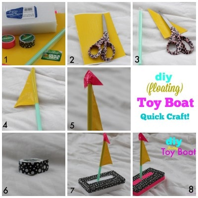 DIY Floating Toy Boat Quick Summer Fun Craft via PinkWhen.com