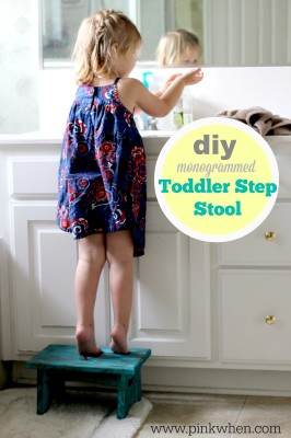 DIY Monogrammed Toddler Step Stool using DecoArt Supplies via PinkWhen.com