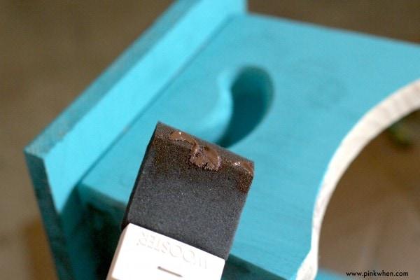 DIY Toddler Step Stool Applying Gel Stain