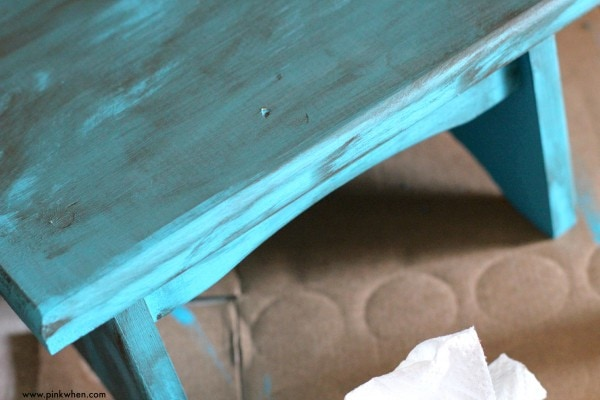 DIY Toddler Step Stool after Gel Stain has been rubbed off
