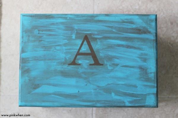 DIY Toddler Step Stool after application of monogram using gel stain