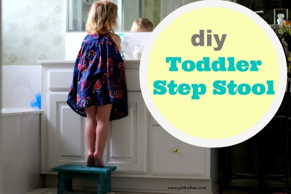 DIY Toddler Step Stool using Chalky Paint from DecoArt via PinkWhen.com