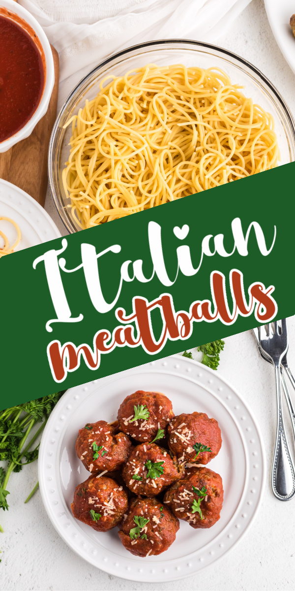Homemade Italian Meatballs are made with ground beef, Italian sausage, garlic, fresh parsley, cheese, and more. Not only are they quick and easy to make, but cleanup is a breeze with our muffin tin hack and they're on the table fast in just 30 minutes! It's an easy family recipe that everyone devours.