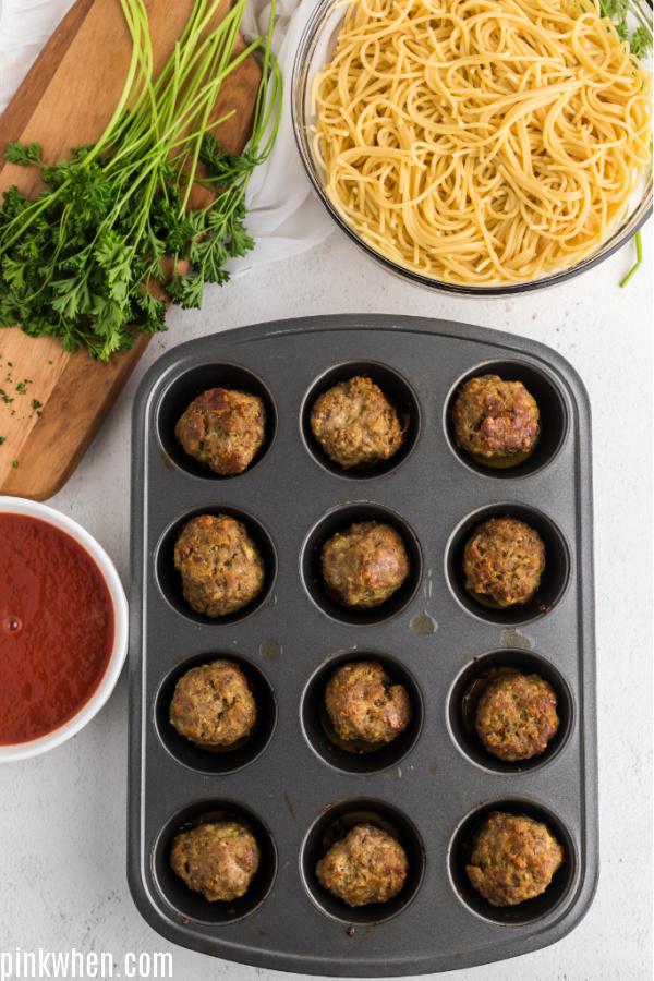 Italian Meatballs in a muffin tin.