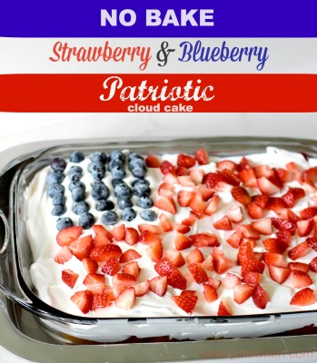 No Bake Strawberry Blueberry Patriotic Cloud Cake