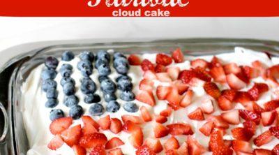 No Bake Strawberry Blueberry Patriotic Cloud Cake