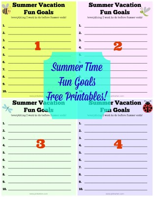 Summer Vacation Fun Goals Free Printables