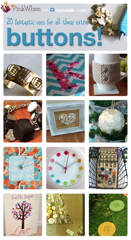 20 Uses for Buttons - Button Craft Ideas from PinkWhen.com