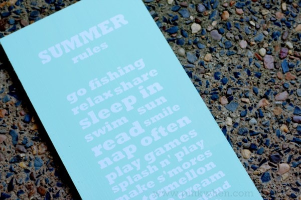 DIY Summer Rules Sign via PinkWhen.com