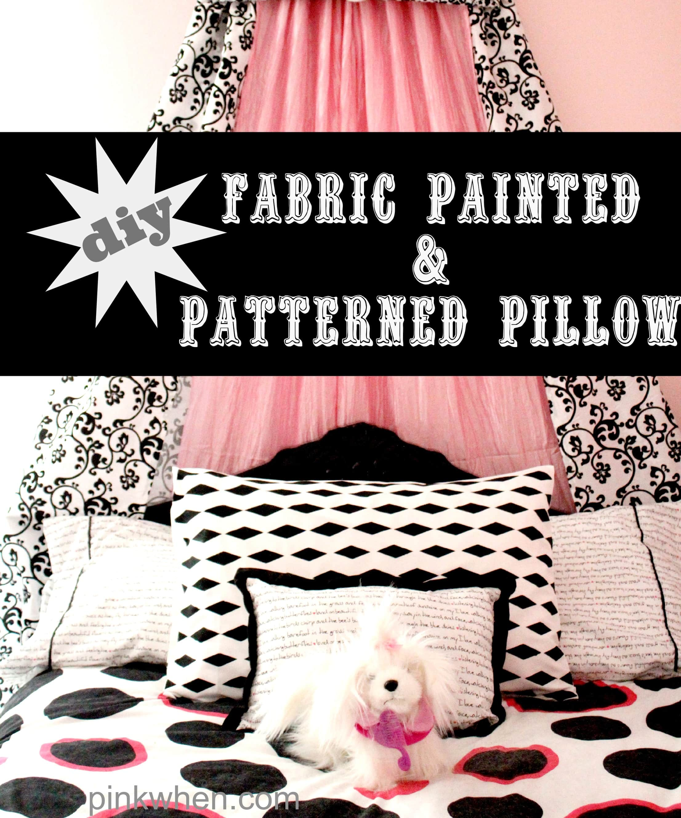 Easy DIY Fabric Painted and Patterned Pillow Case with FrogTape® Shape Tape™ via PinkWhen.com 11