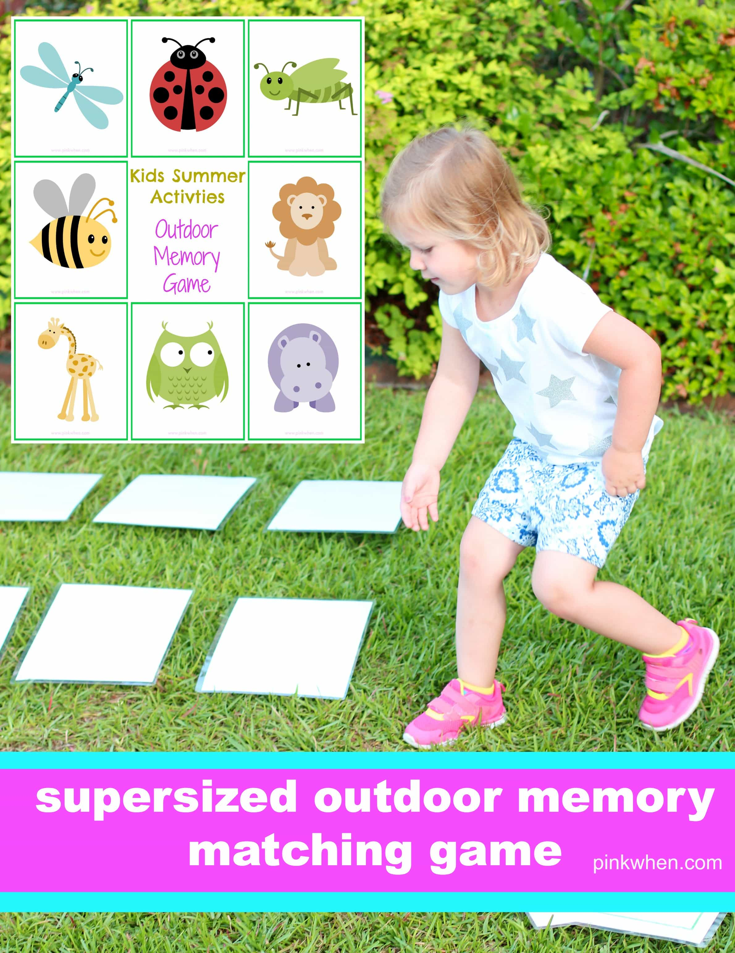 photograph regarding Make Your Own Matching Game Printable named Outside Memory Match - PinkWhen