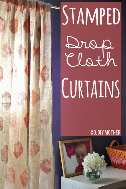 Stamped Drop Cloth Curtain Tutorial Pinkwhen