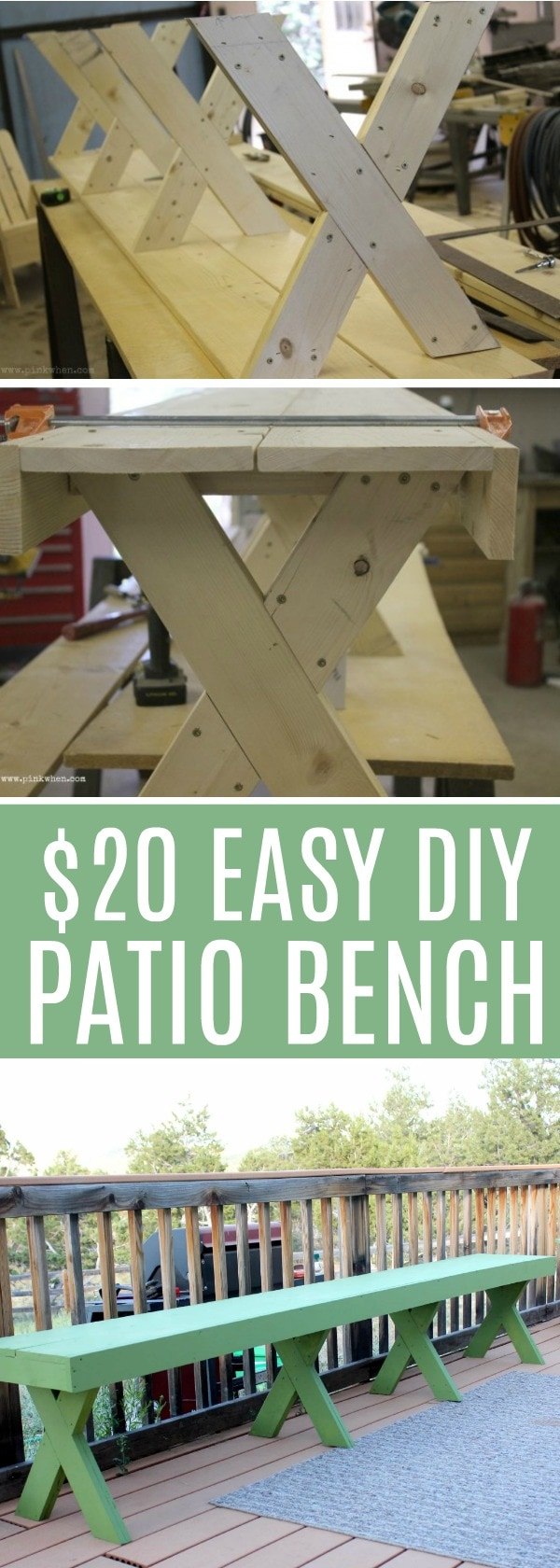 Check out this $20 easy DIY Patio Bench. I feel a project starting...