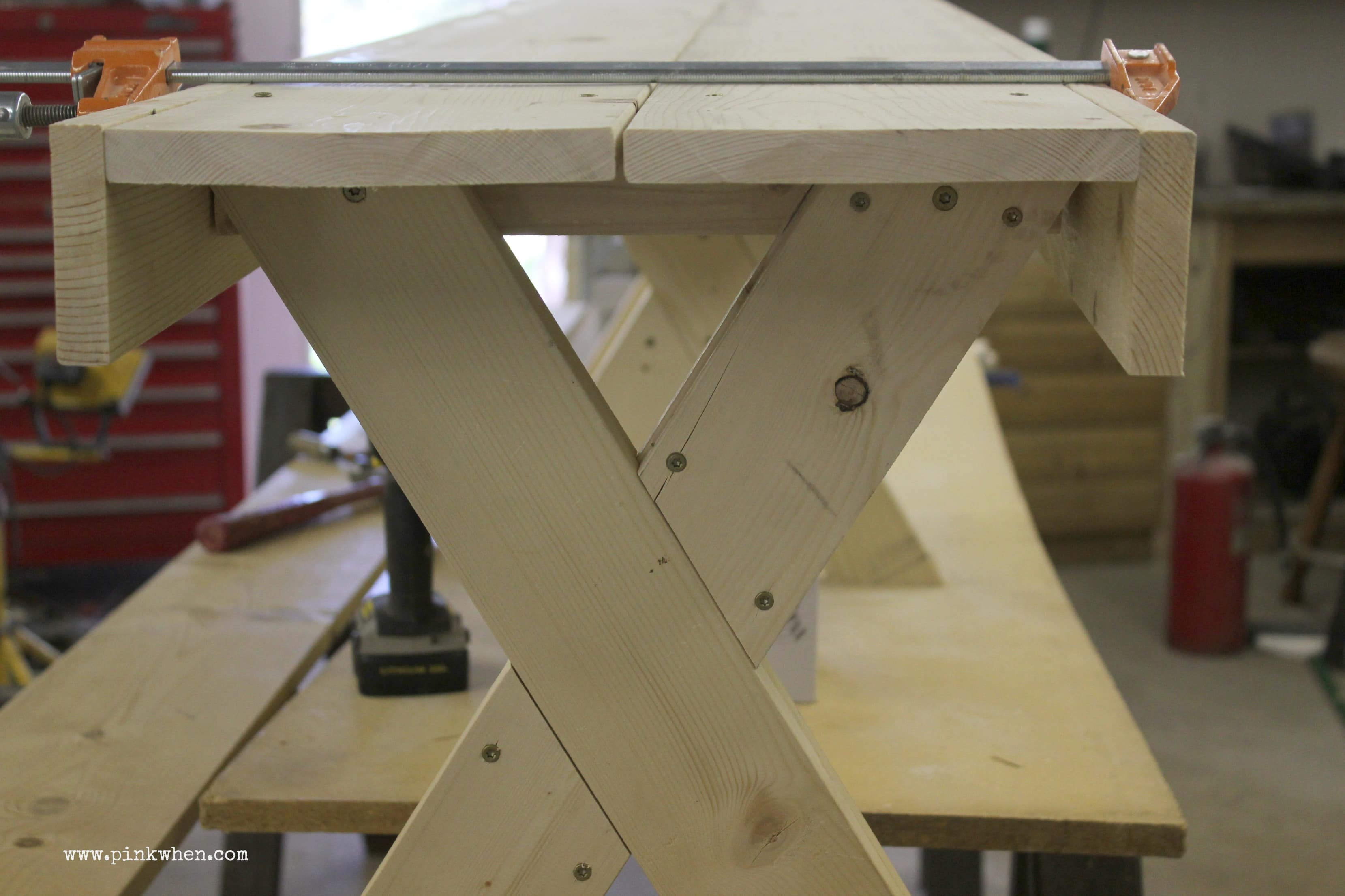 DIY  Outdoor Patio Bench via PinKWhen.com 4.
