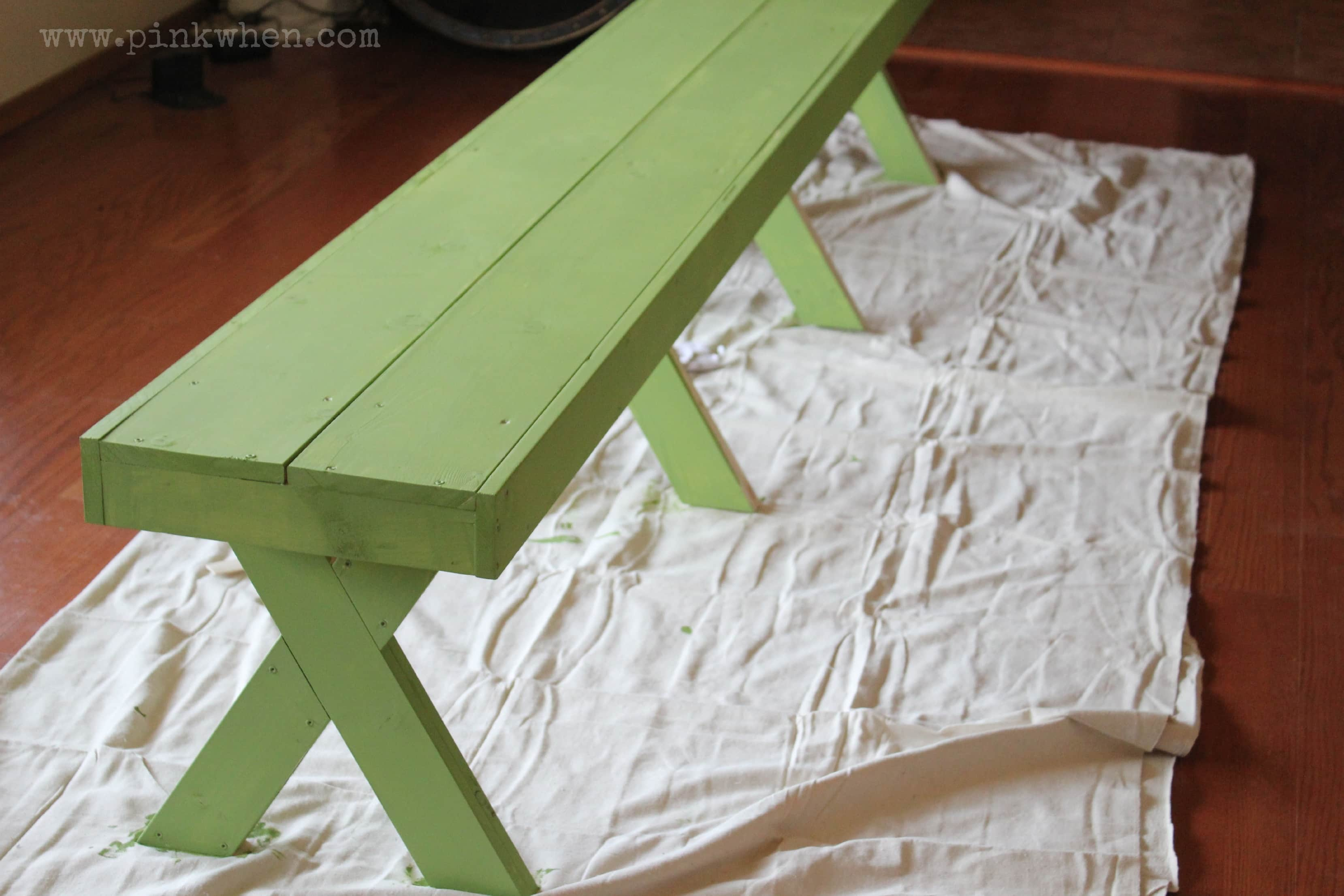 DIY $20 Outdoor Patio Bench via PinKWhen.com 6