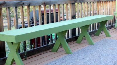 DIY  Outdoor Patio Bench via PinkWhen.com 7