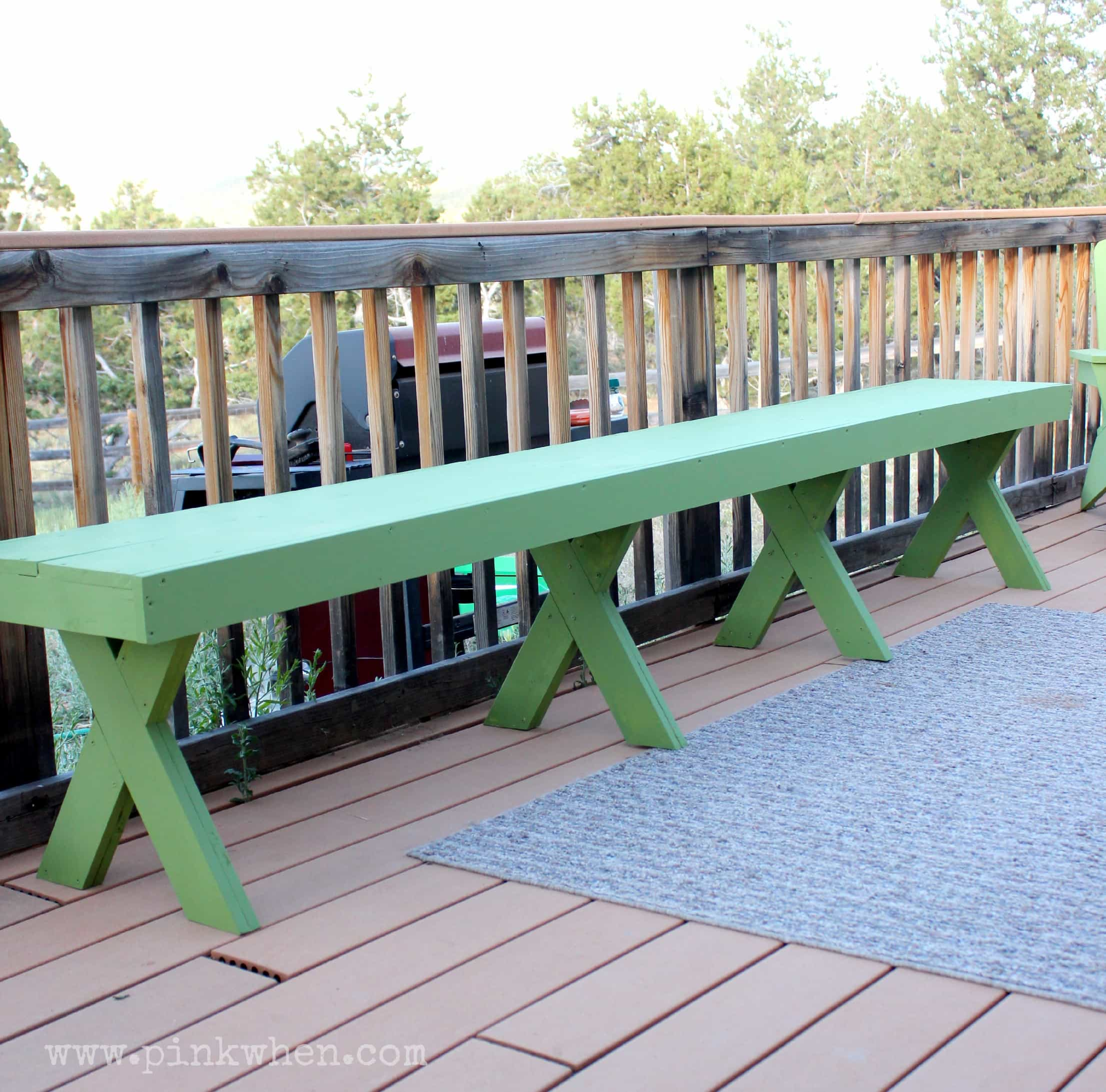 DIY $20 Outdoor Patio Bench via PinkWhen.com 7