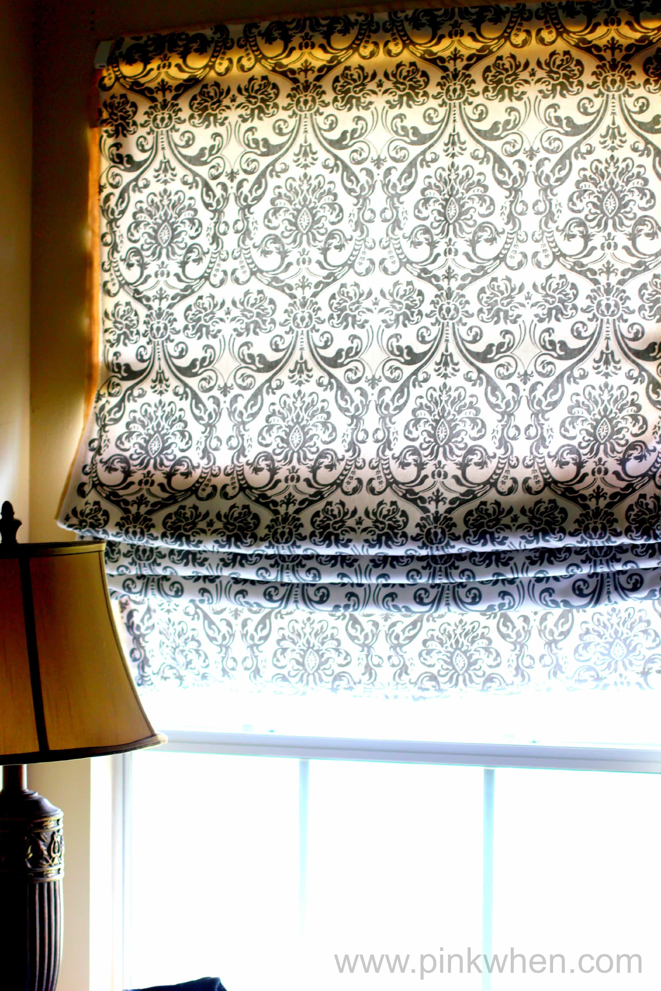DIY Roman Shade Tutorial - No Sew - Step by Step Videp - Via PinkWhen.com