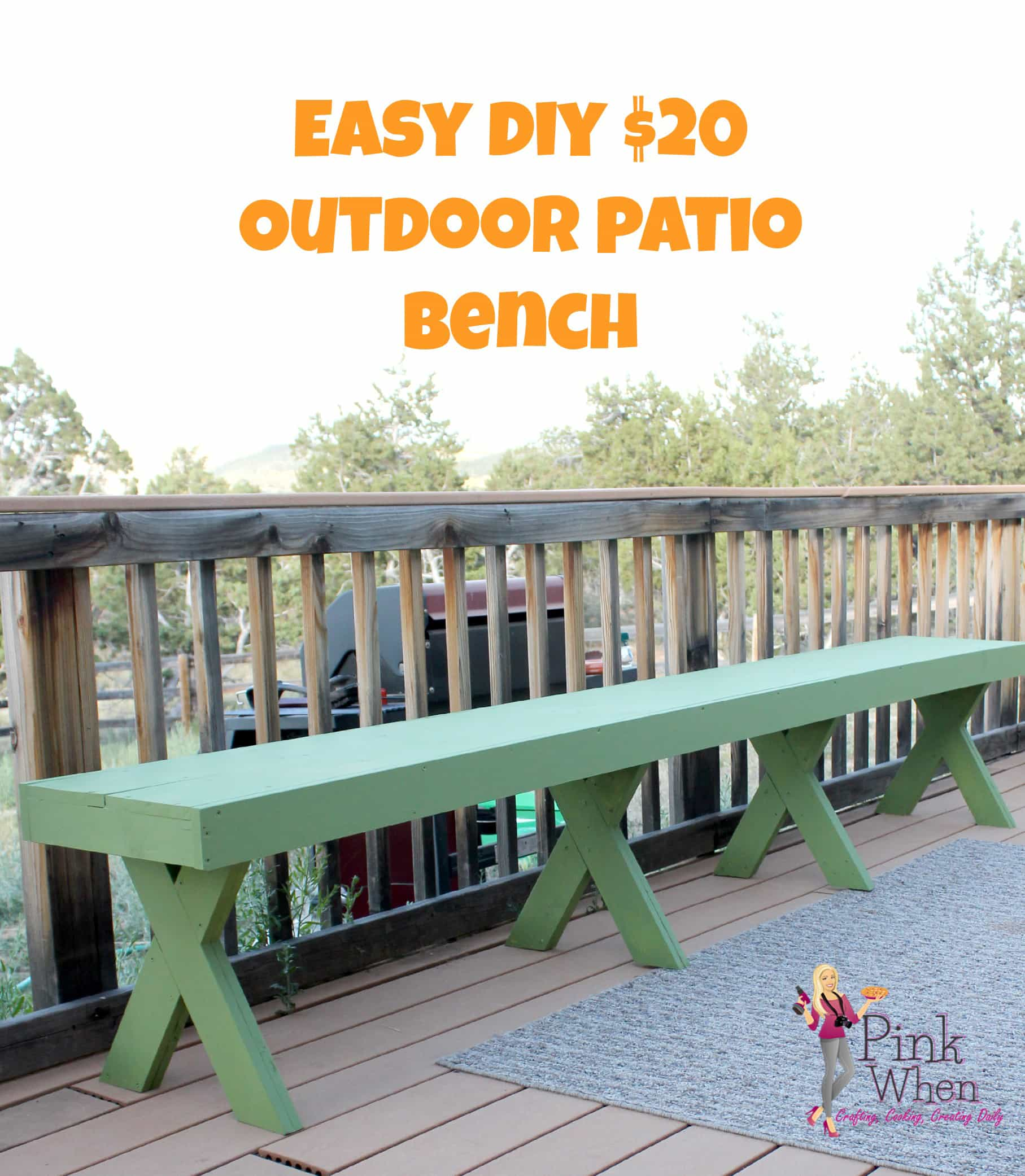 Easy DIY $20 Outdoor Patio Bench Via PinkWhen.com