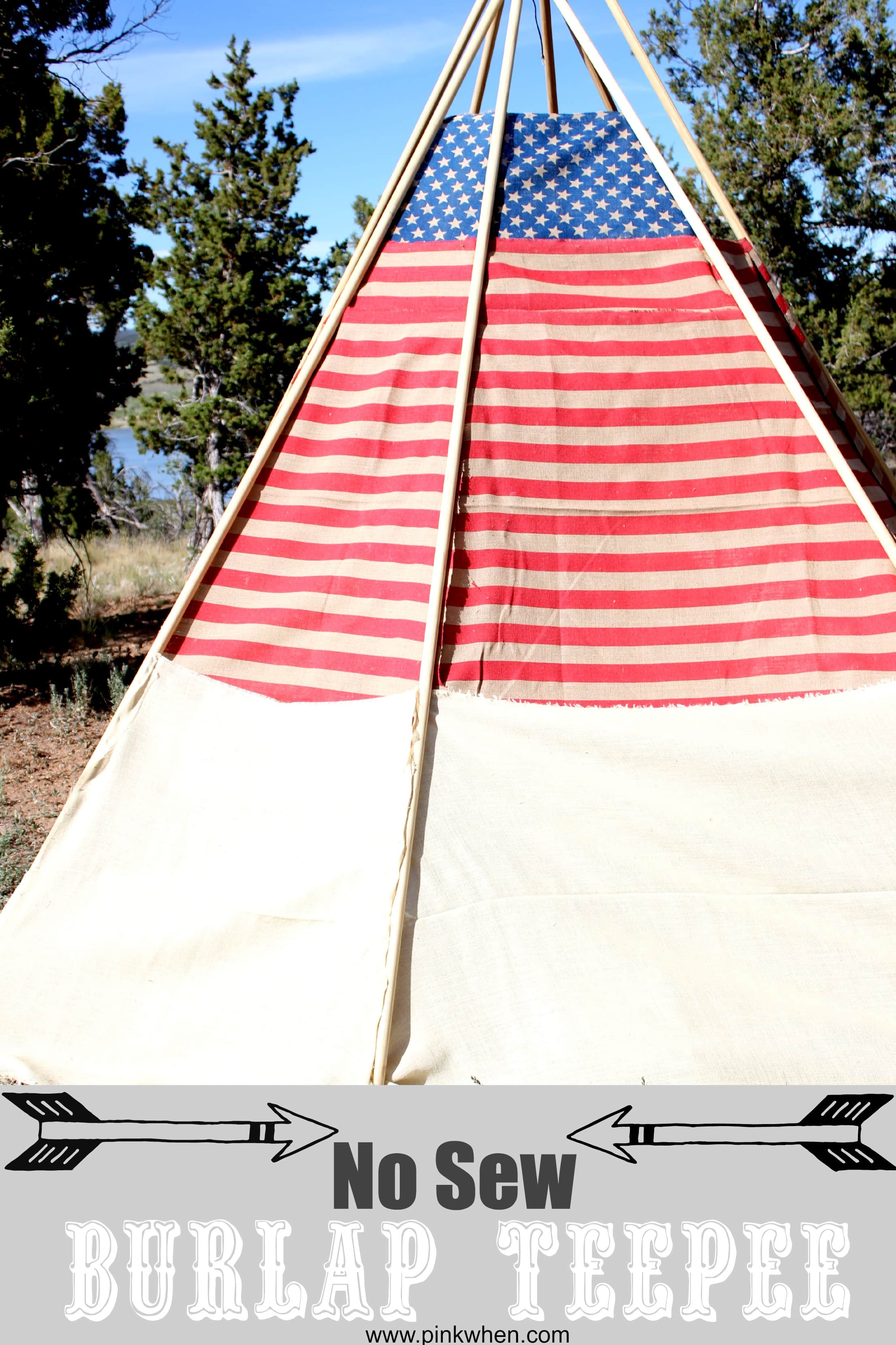 Easy DIY No Sew Burlap TeePee from PinkWhen.com