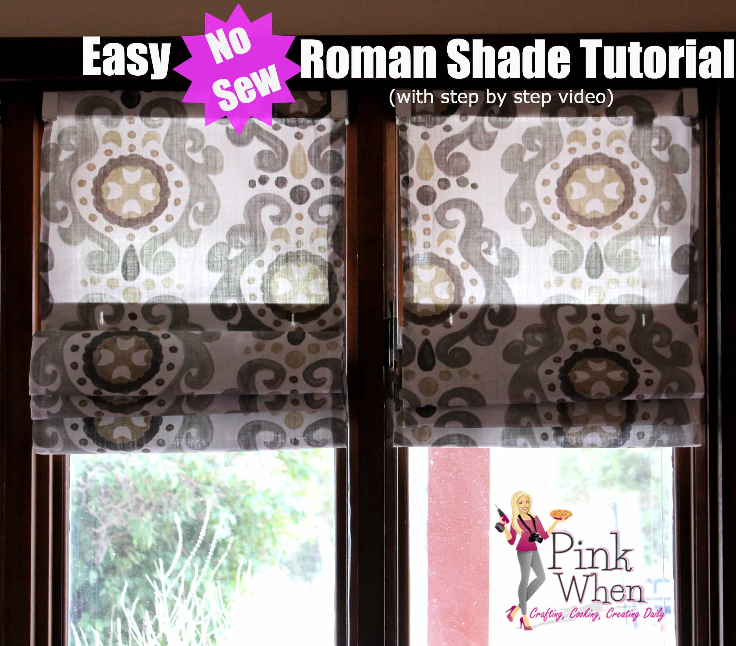 simple no sew roman shades pinkwhen. Black Bedroom Furniture Sets. Home Design Ideas