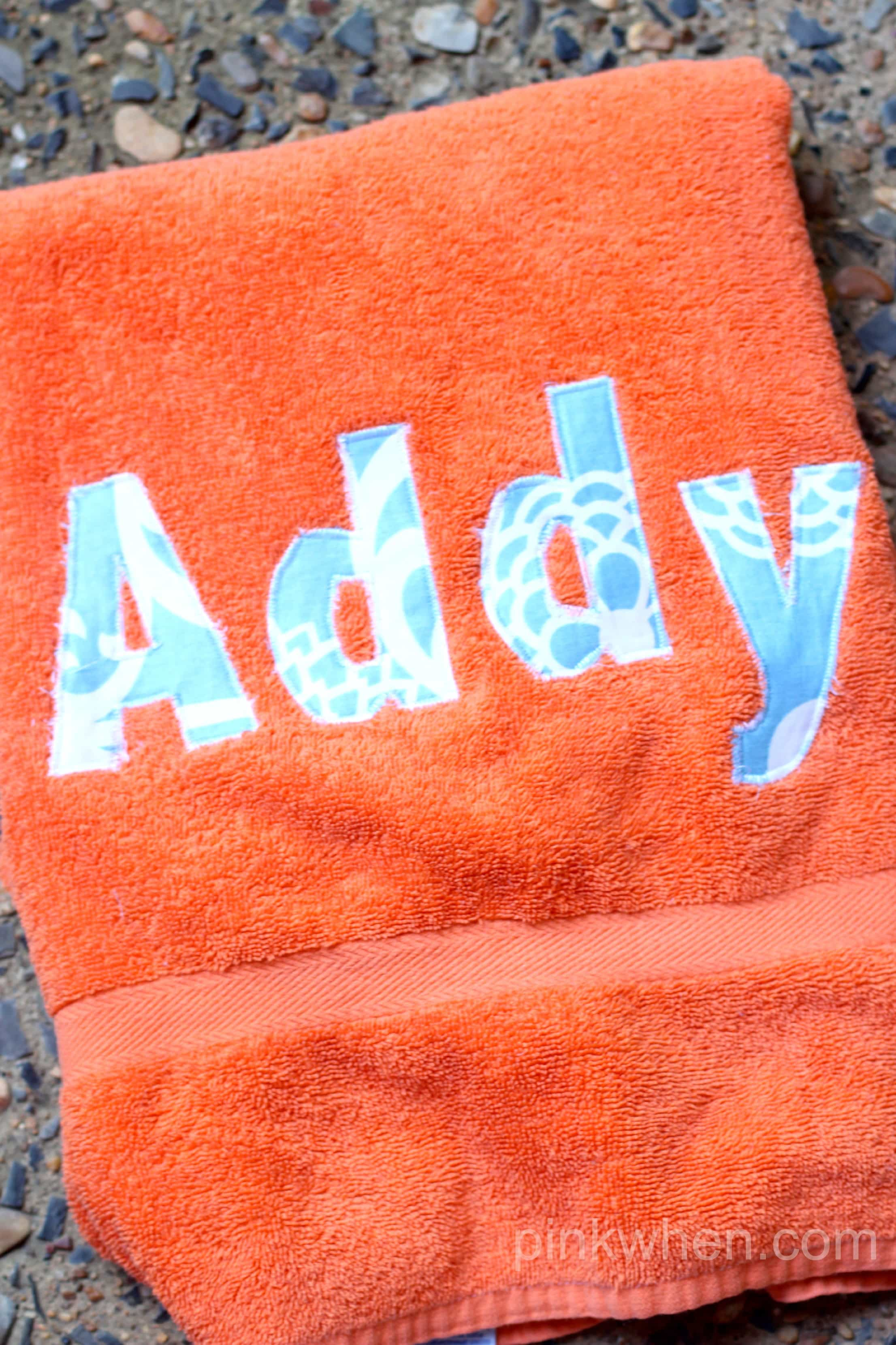 Easy DIY Personalized Pool Towel via PinkWhen.com