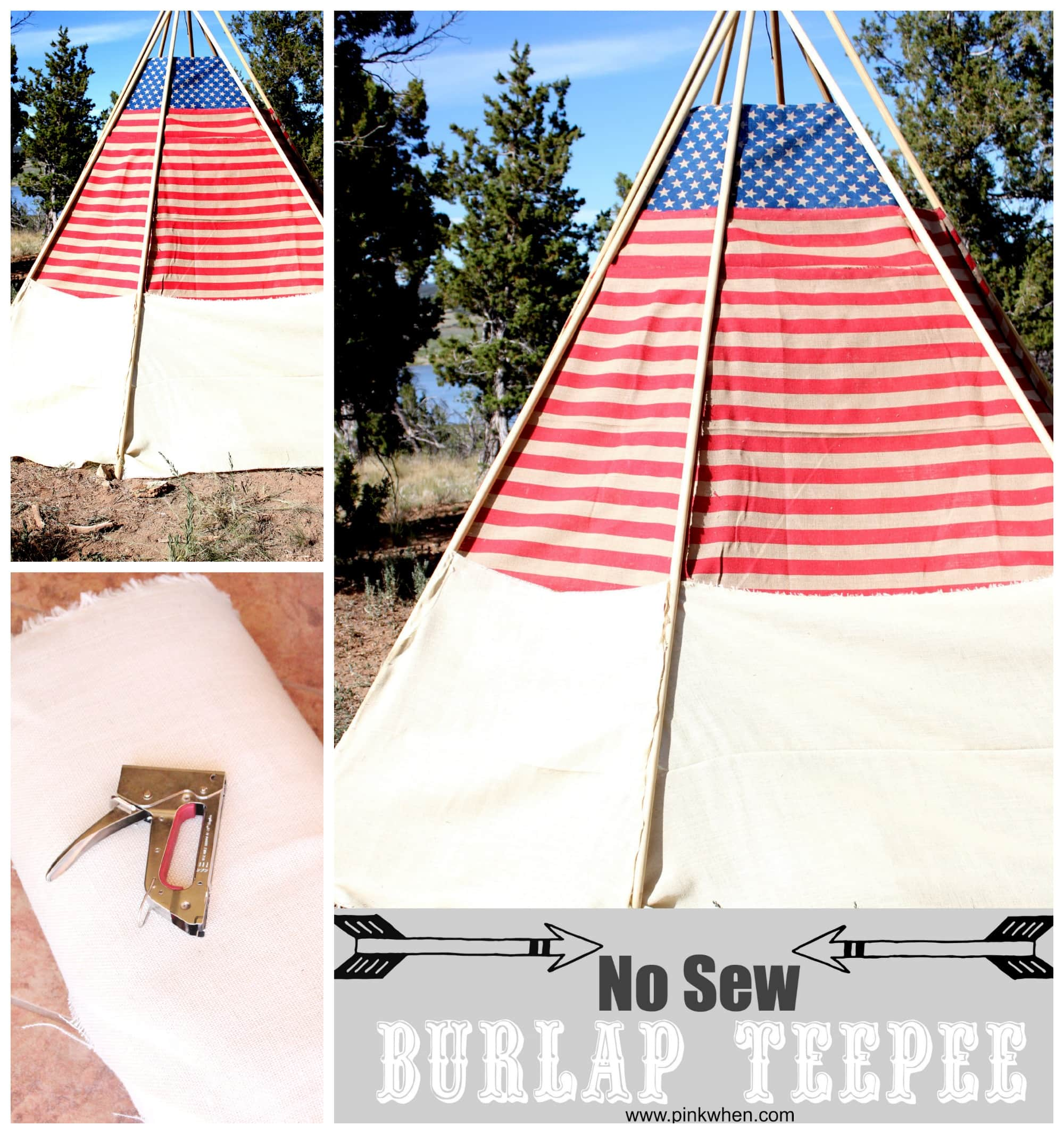 Easy No Sew Outdoor Burlap TeePee via PinkWhen.com