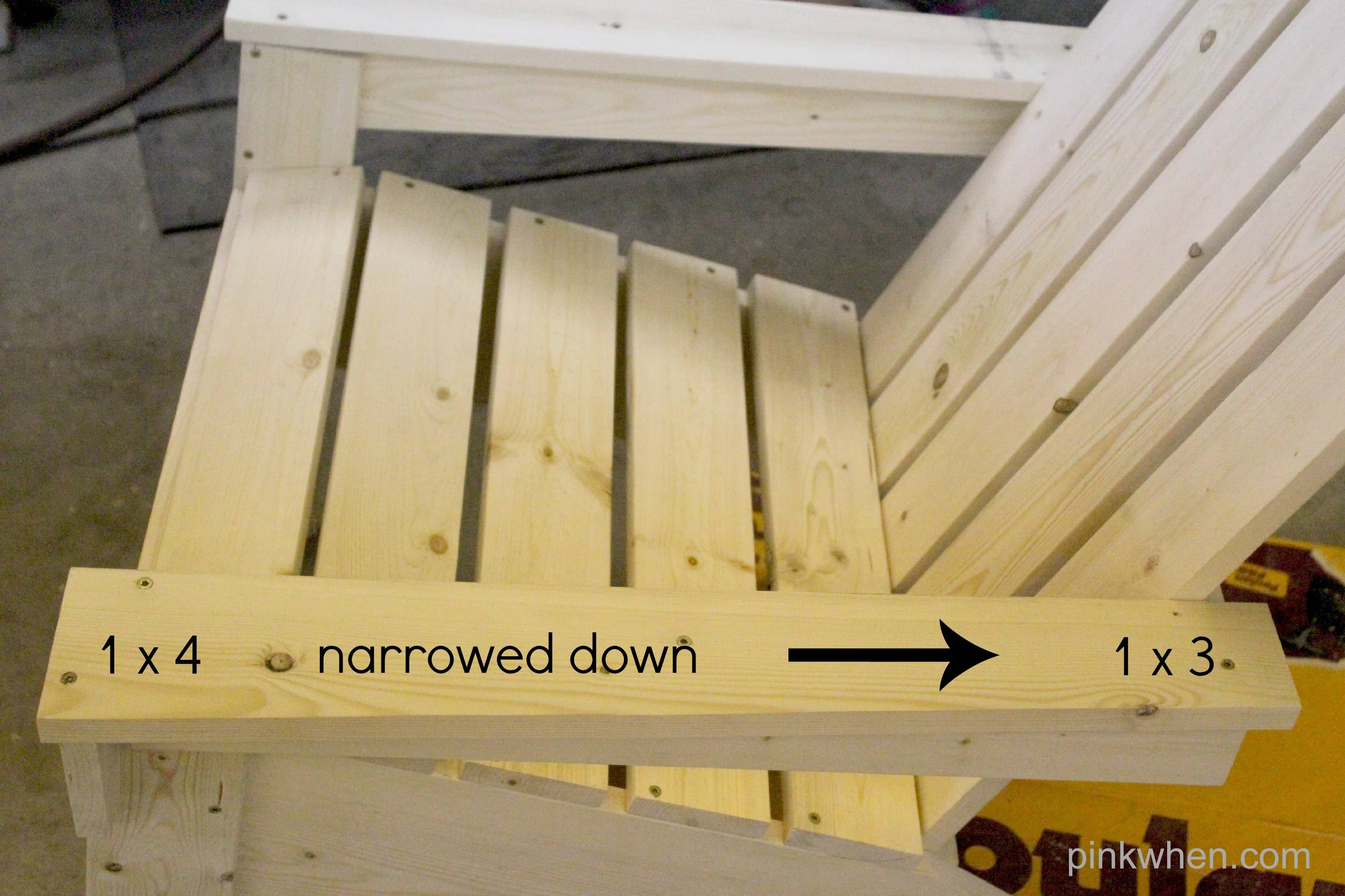 How to Build Your Own Adirondack Chair narrowed arm board