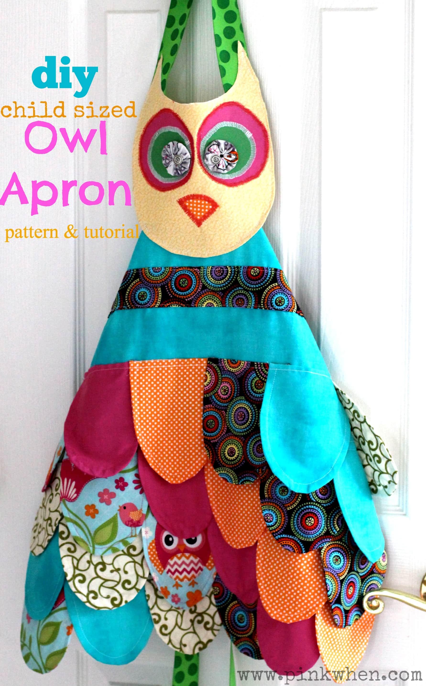 My Little Owl Apron - Toddler & Child Owl Apron Tutorial - PinkWhen.com
