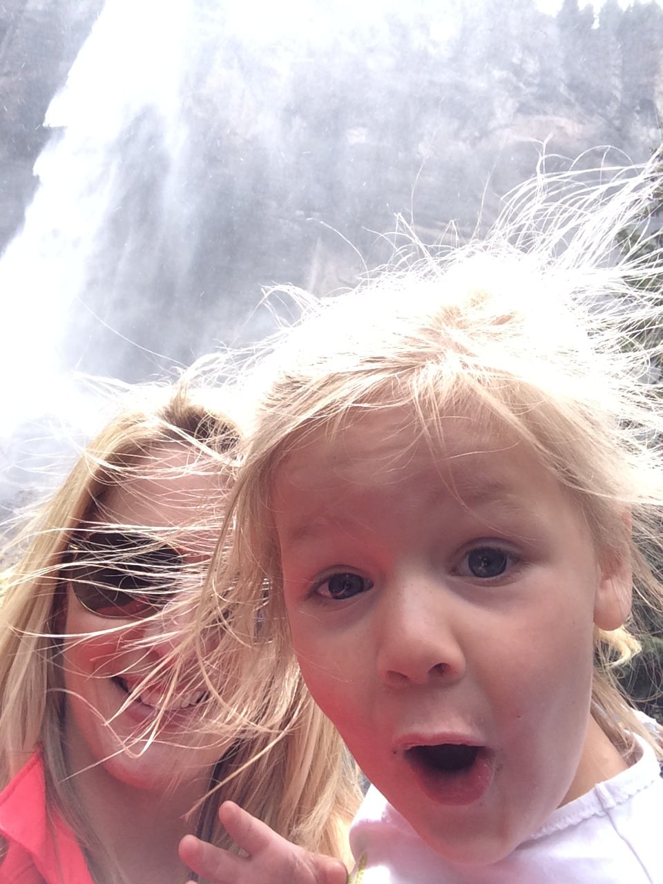 Addy at the waterfall