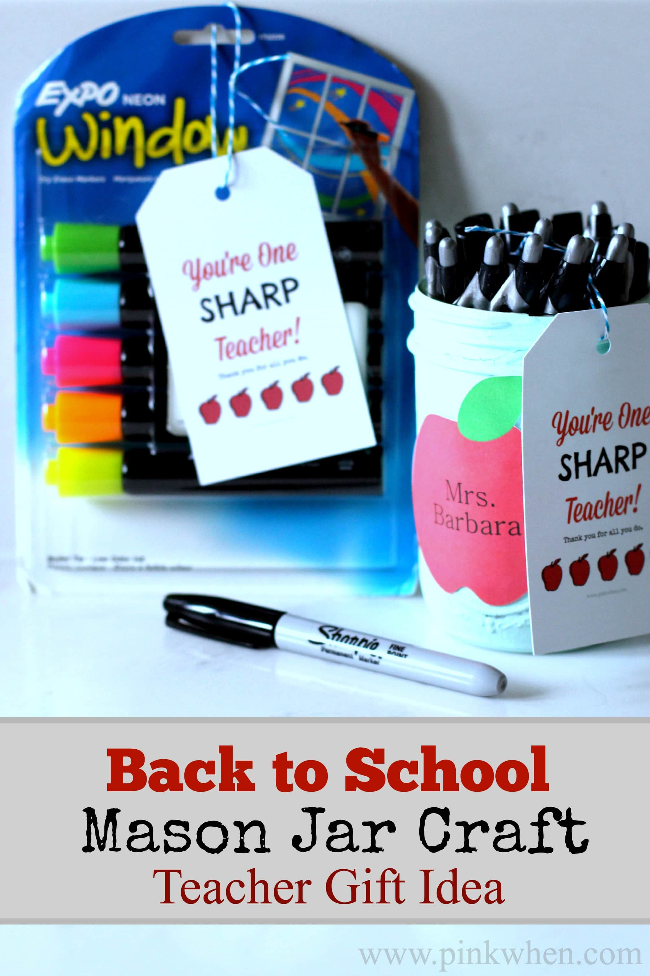 Back to School Mason Jar Craft Teacher Gift Idea #inspirestudents #teacherschangelives #pmedia #ad