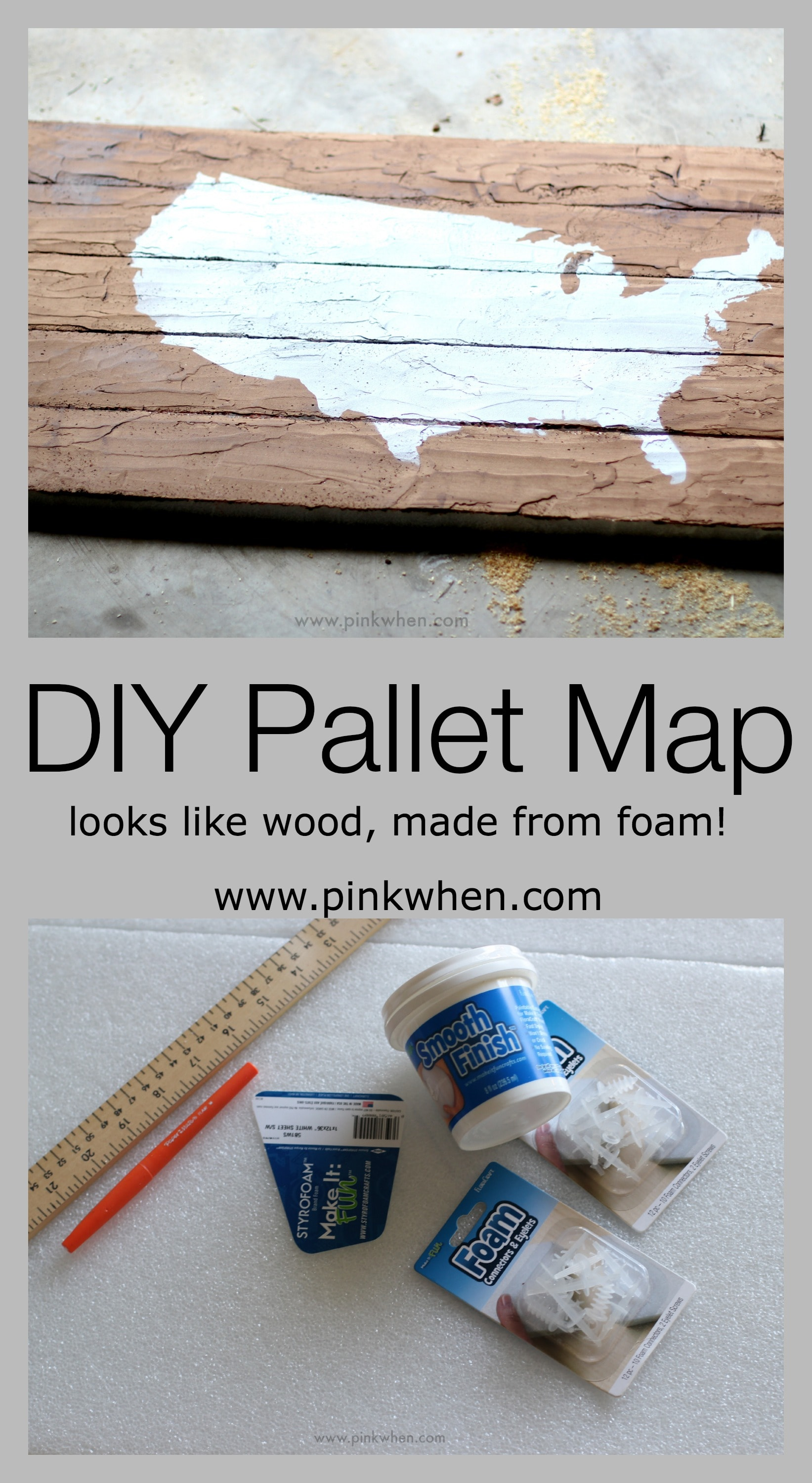 Diy faux wood pallet map art page of pinkwhen