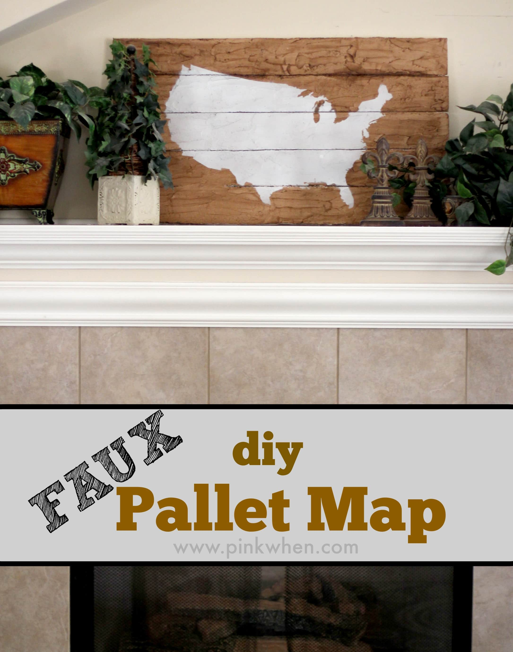 DIY Faux Wood Pallet Map Art via PinkWhen.com