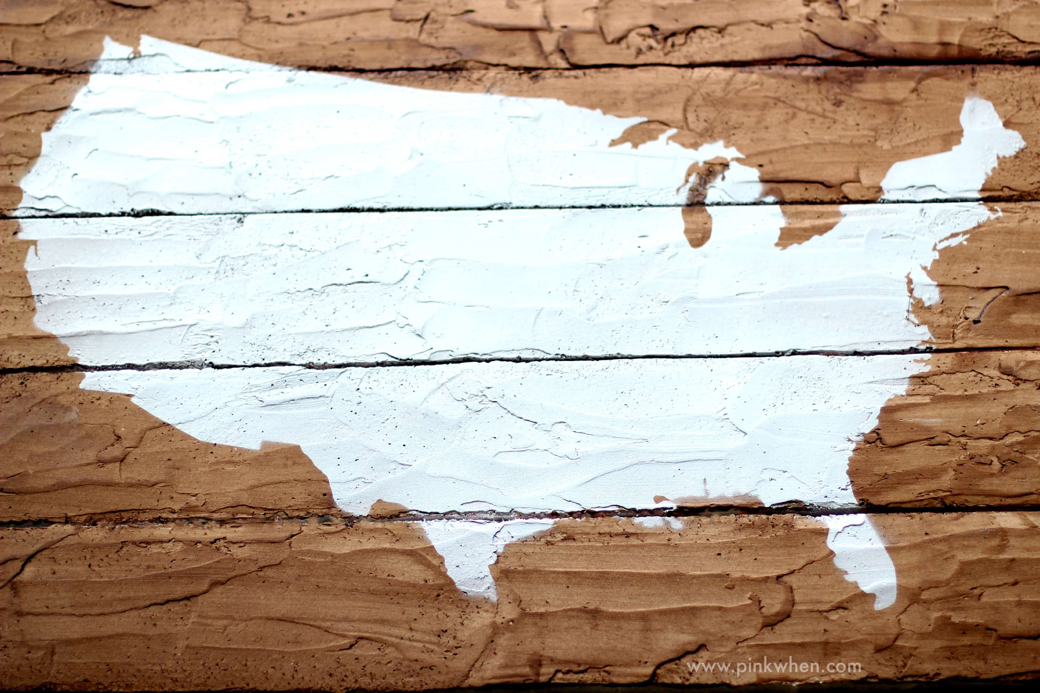 DIY Faux Wood Pallet Map Project via PinkWhen