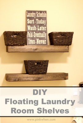 Diy Floating Laundry Room Shelves Pinkwhen