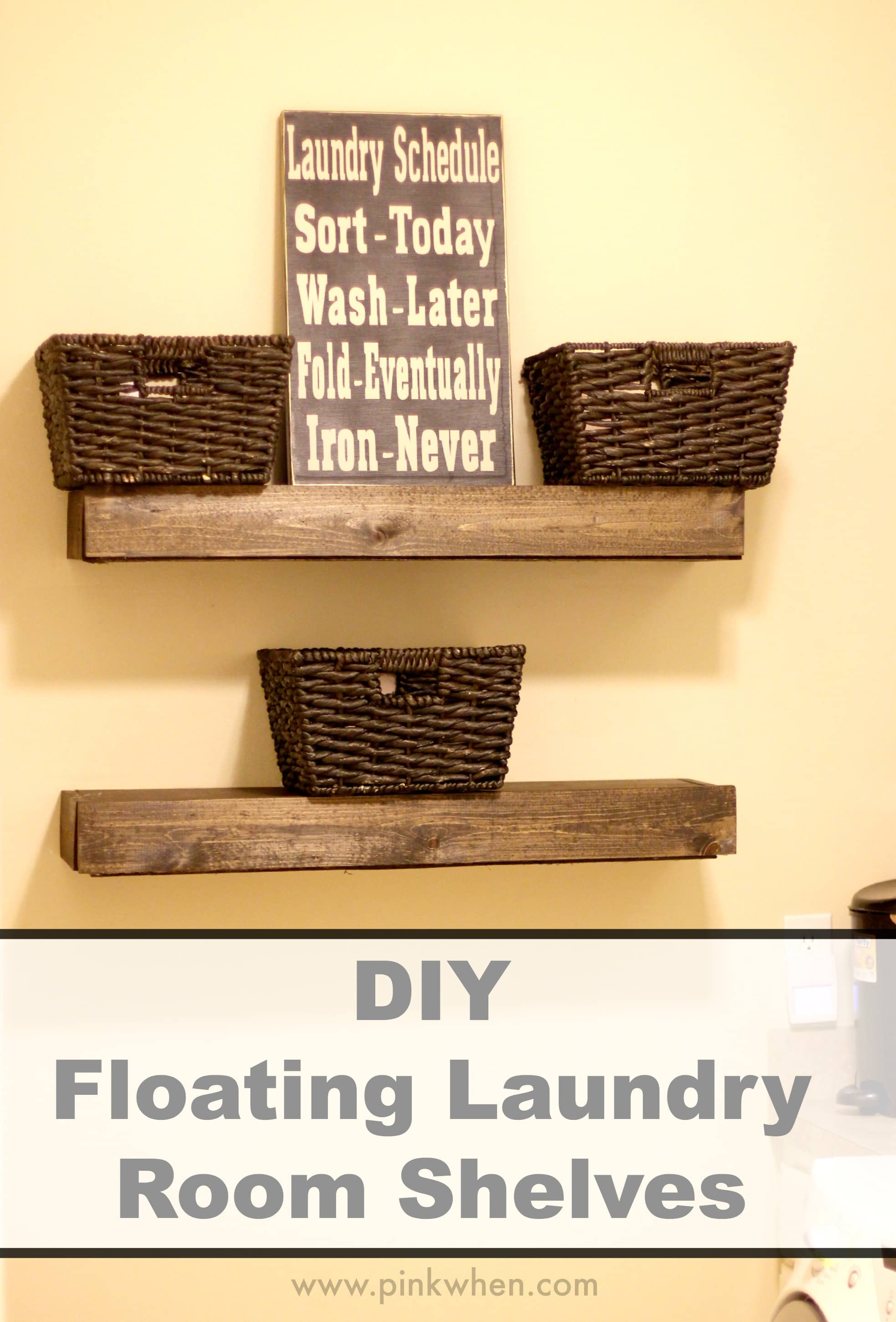 DIY Floating Laundry Room Shelves via PinkWhen.com