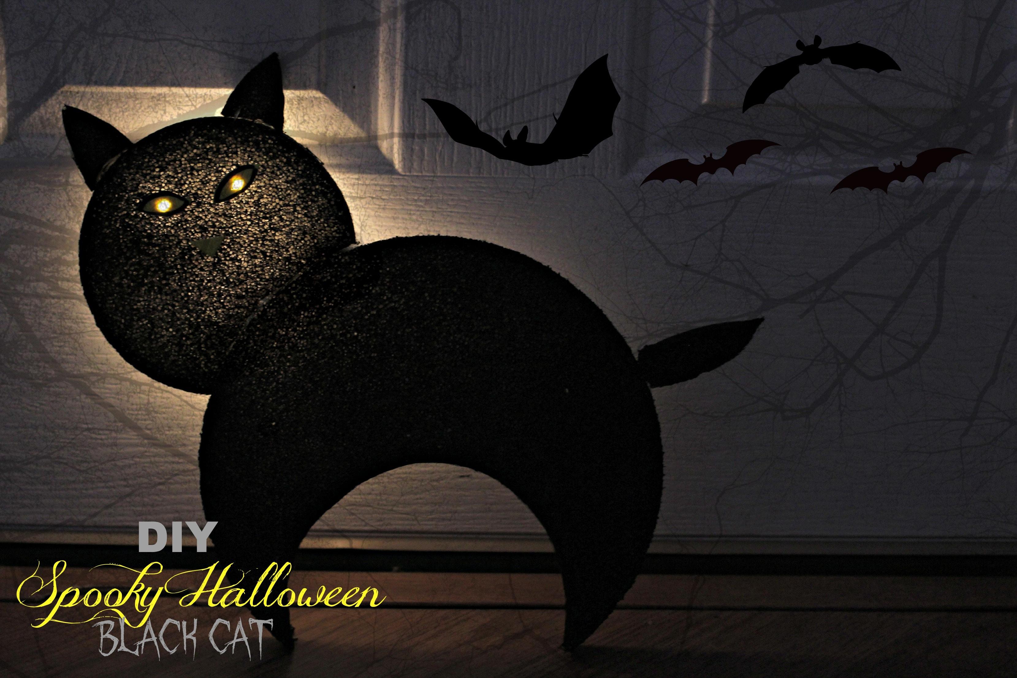 DIY Spooky Halloween Black Cat Tutorial with Lighted Eyes