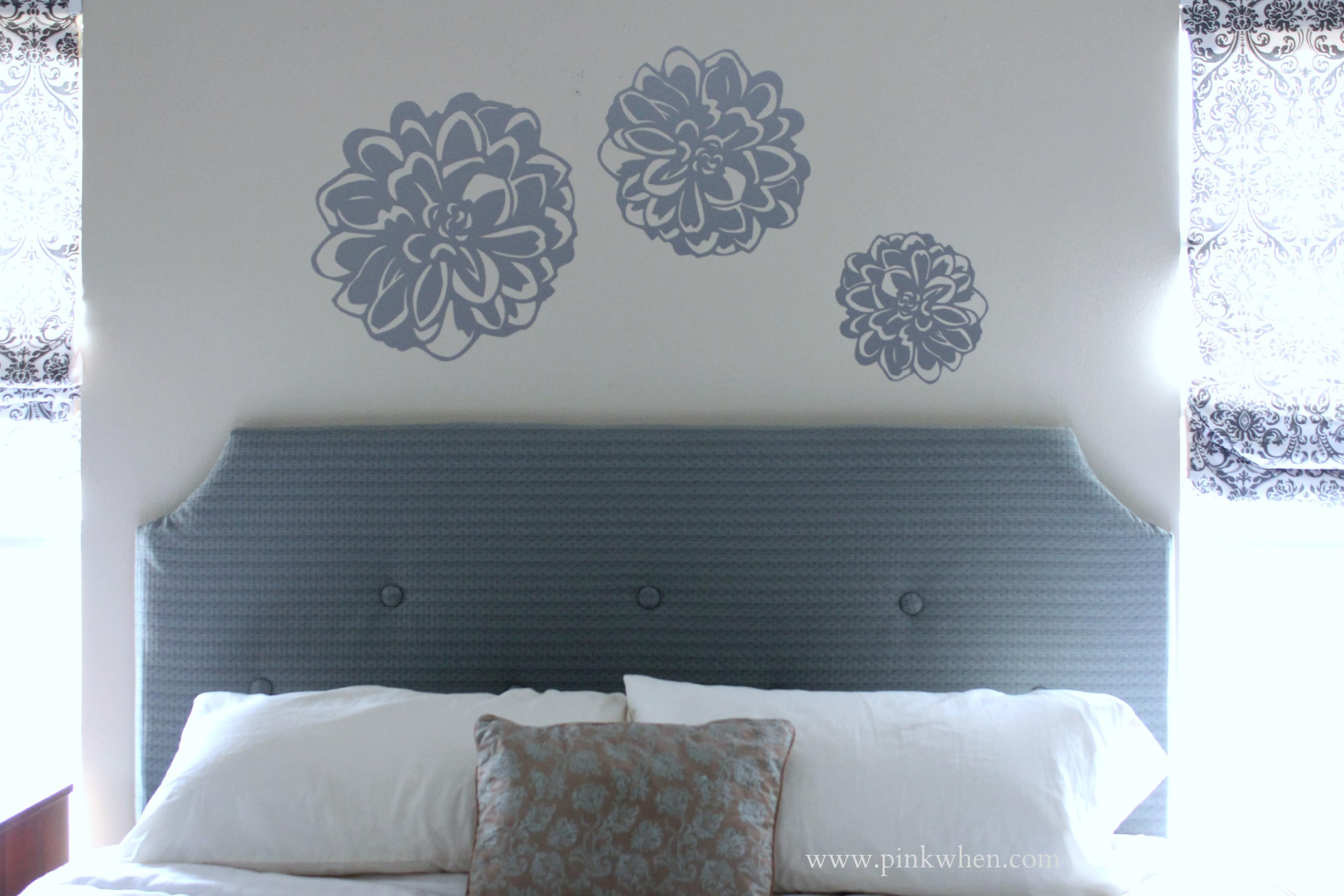 DIY Tufted Headboard for under $100 via PinkWhen.com 1