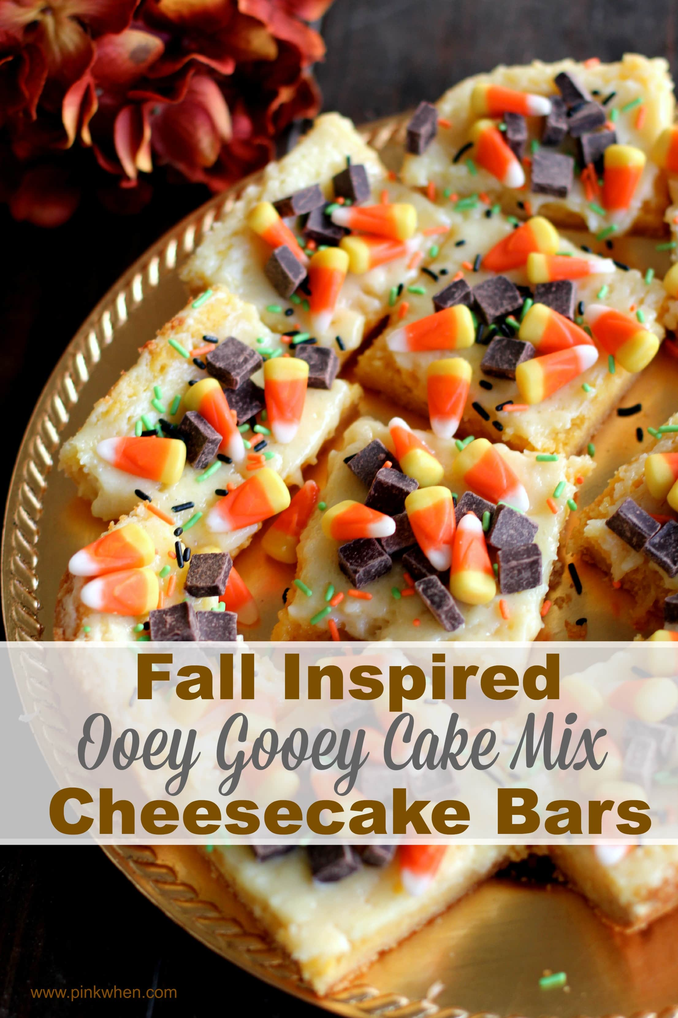 Fall Inspired Ooey Gooey Cake Mix Cheesecake Bars via PinkWhen.com