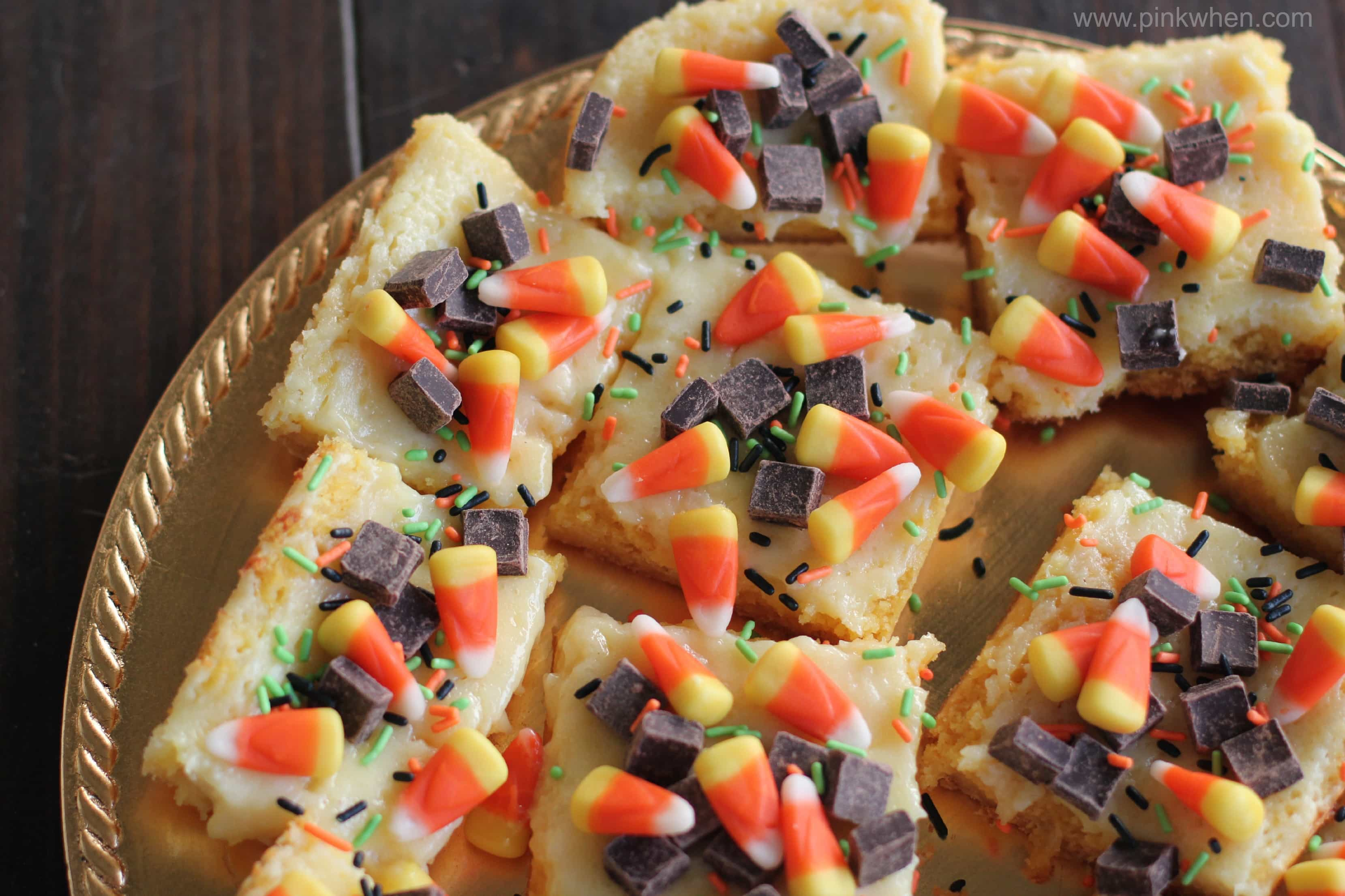 Fall Inspired Ooey Gooey Cake Mix Cheesecake Bars