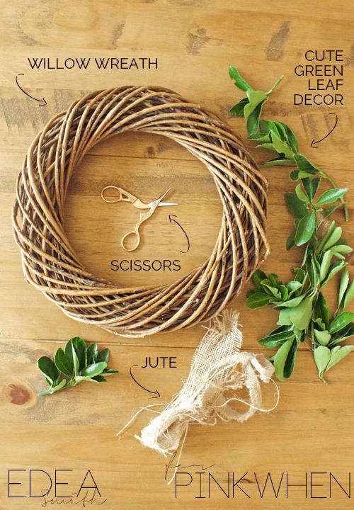 DIY Green Leafy Wreath Supplies
