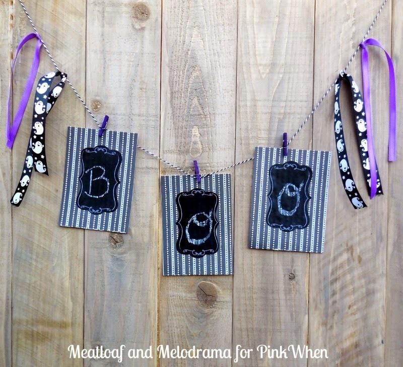 Super easy Halloween diy chalkboard boo garland
