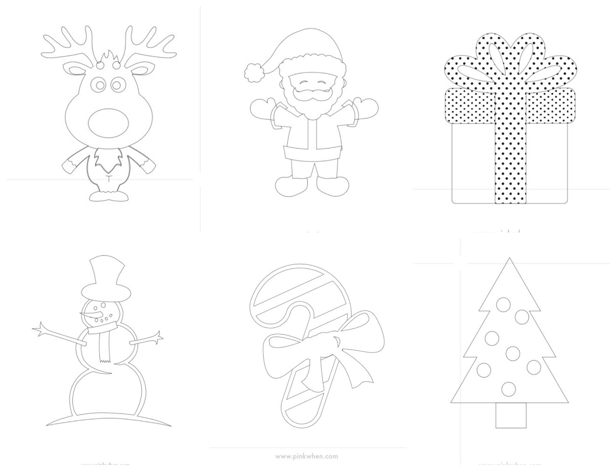 Chrismtas Printable Coloring Pages Collage